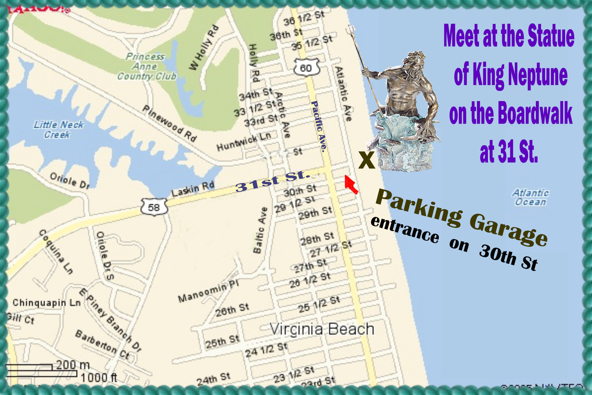 Virginia Beach Boardwalk Detailed Map Submited Images