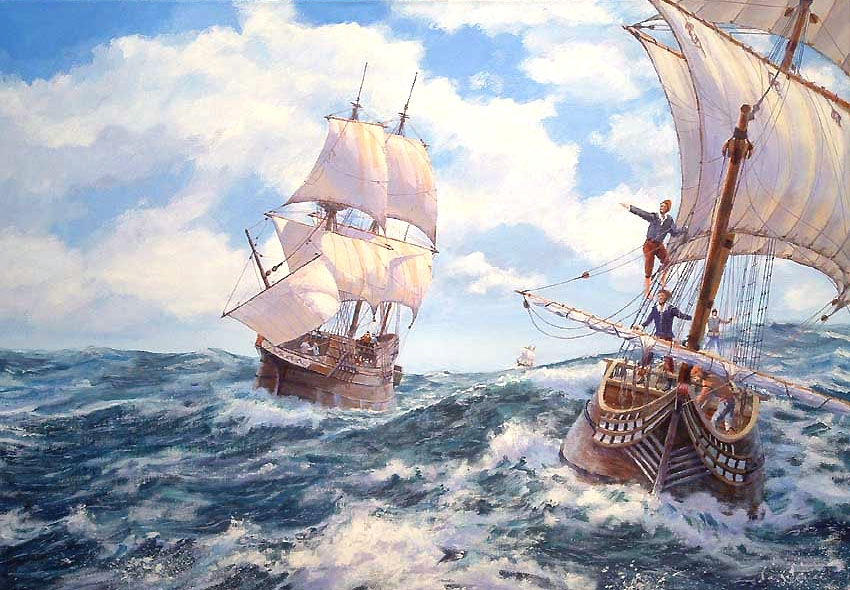1607 Colonists sailing to America